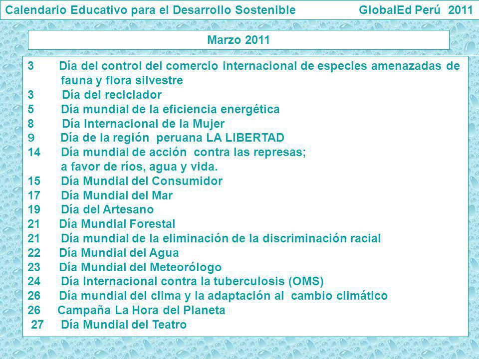 Calendario Educativo para el Desarrollo Sostenible GlobalEd Perú 2011