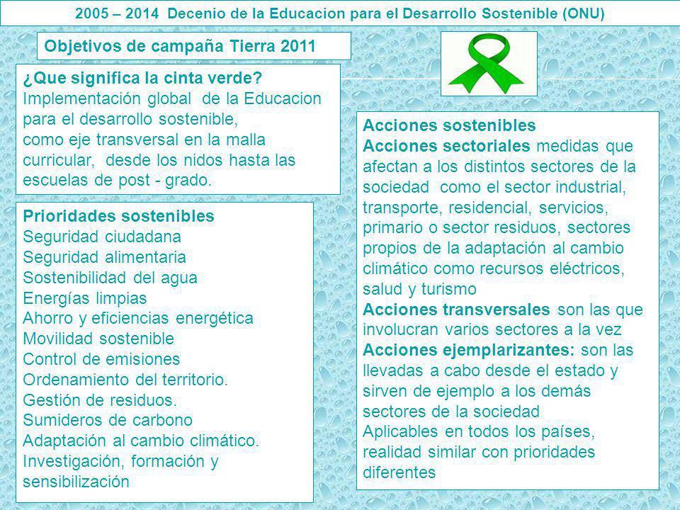 Objetivos de campaña Tierra 2011