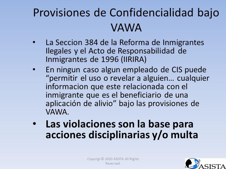 Provisiones de Confidencialidad bajo VAWA