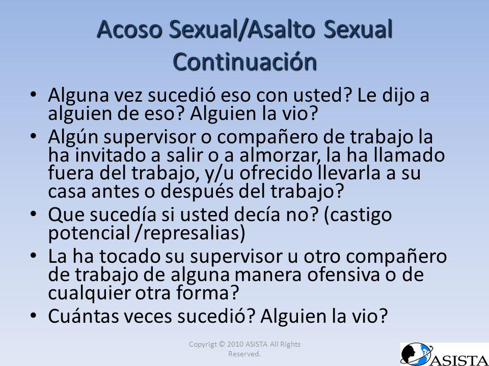 Acoso Sexual/Asalto Sexual Continuación