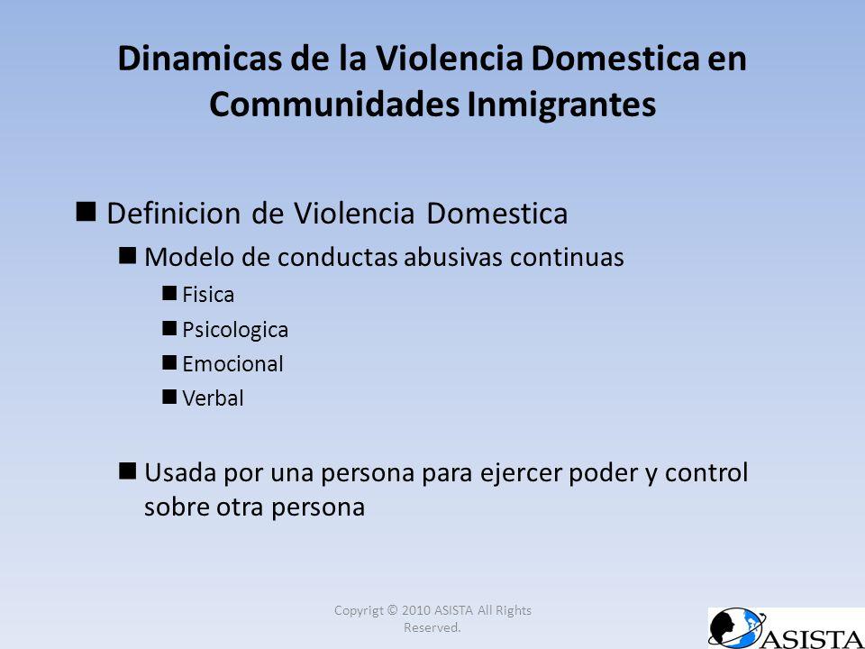 Dinamicas de la Violencia Domestica en Communidades Inmigrantes