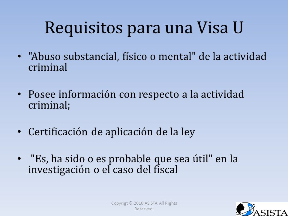 Requisitos para una Visa U