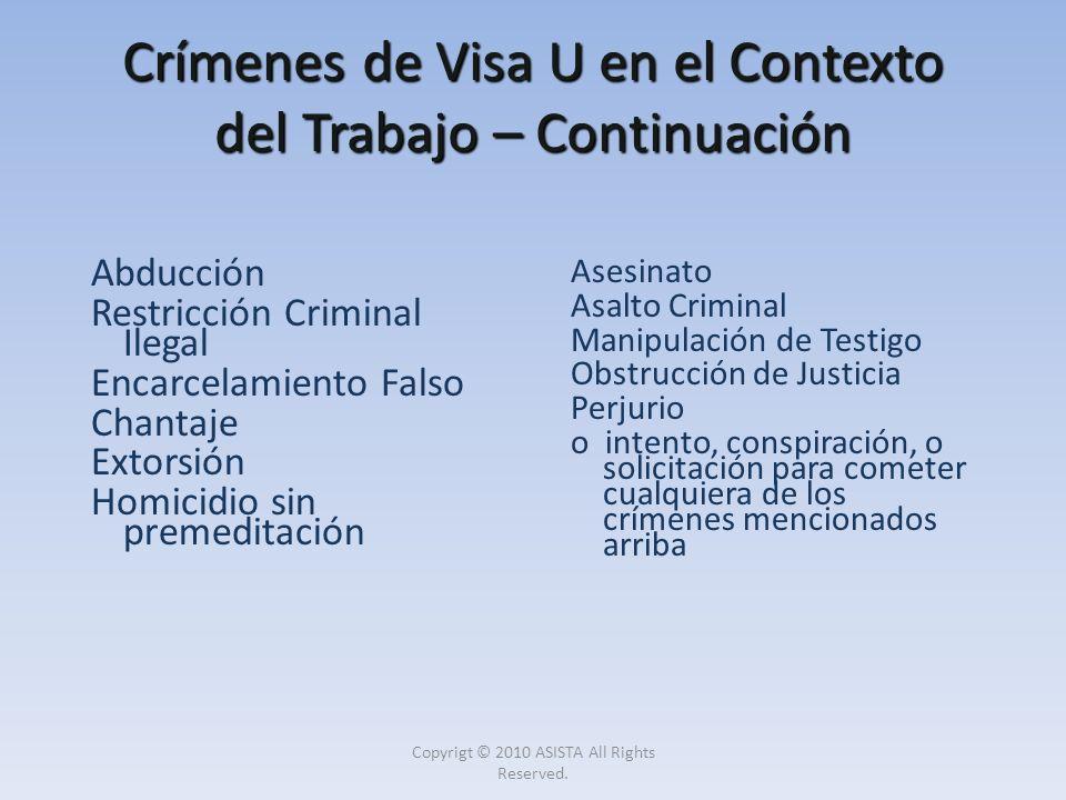 Crímenes de Visa U en el Contexto del Trabajo – Continuación