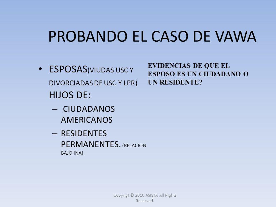 PROBANDO EL CASO DE VAWA