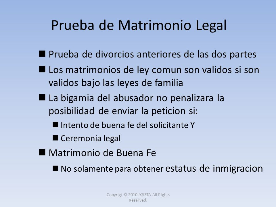 Prueba de Matrimonio Legal