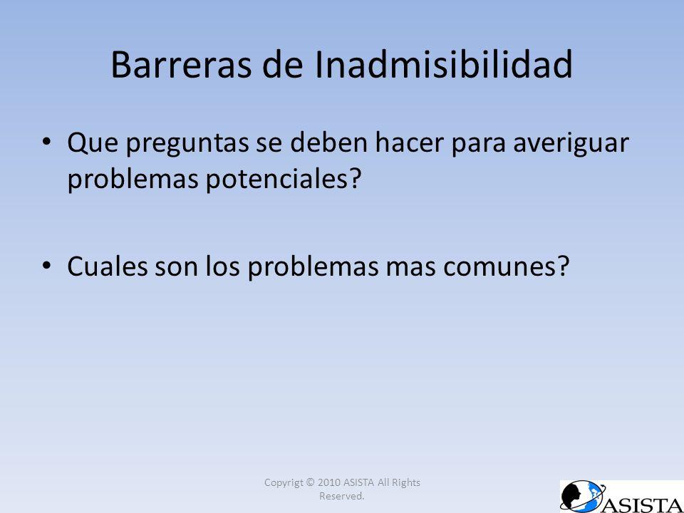 Barreras de Inadmisibilidad