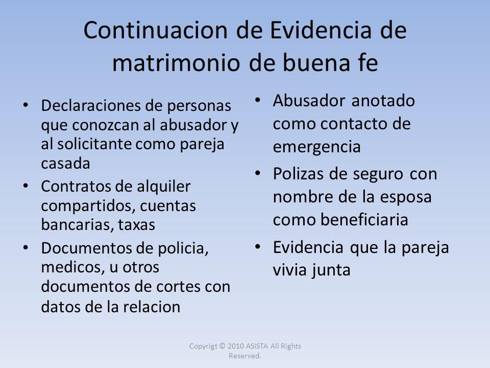 Continuacion de Evidencia de matrimonio de buena fe