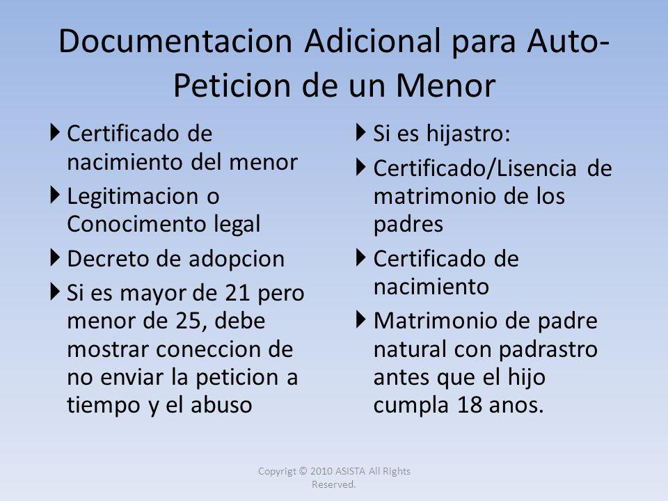 Documentacion Adicional para Auto-Peticion de un Menor