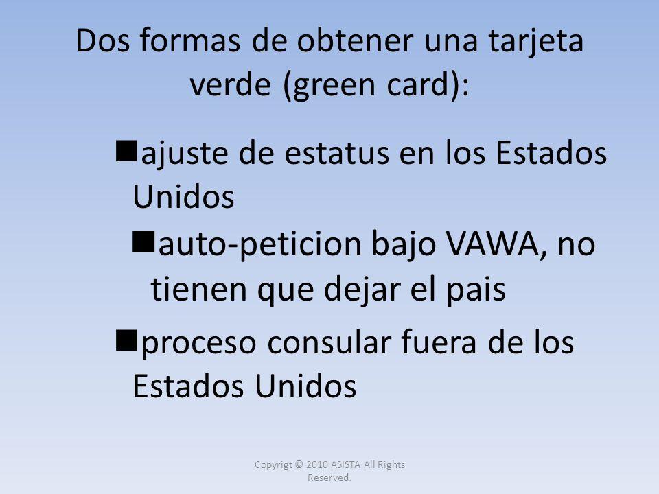 Dos formas de obtener una tarjeta verde (green card):