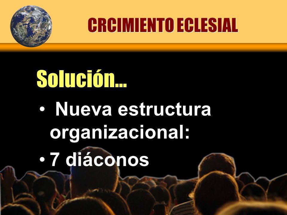 Solución… Nueva estructura organizacional: 7 diáconos