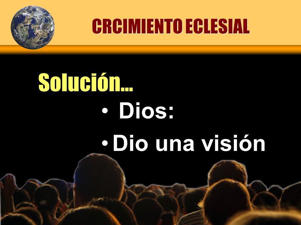 CRCIMIENTO ECLESIAL Solución… Dios: Dio una visión