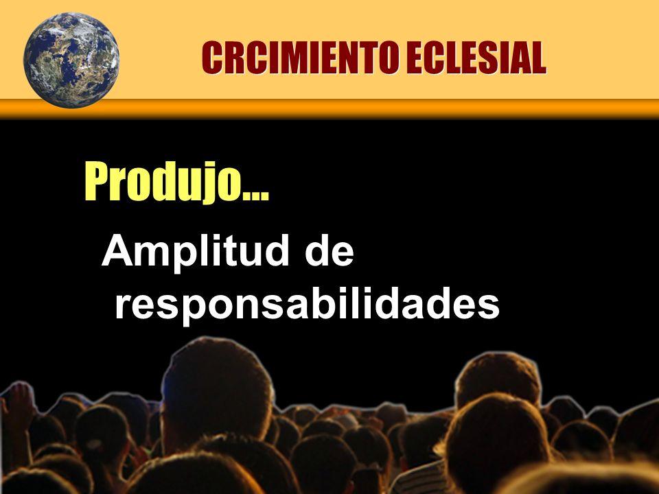 CRCIMIENTO ECLESIAL Produjo… Amplitud de responsabilidades