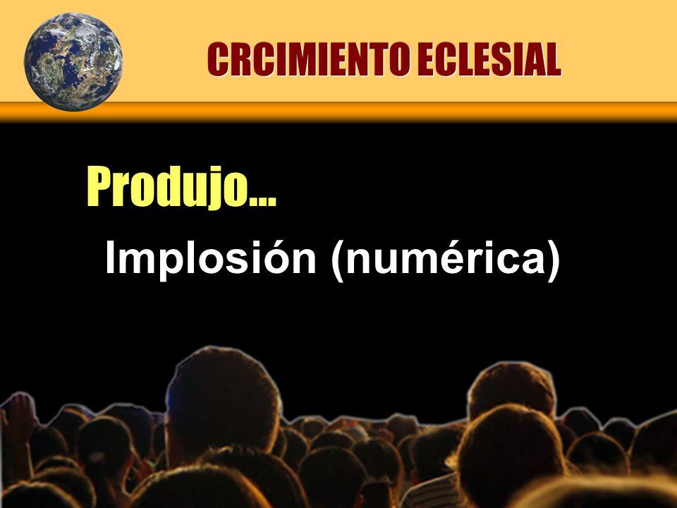 CRCIMIENTO ECLESIAL Produjo… Implosión (numérica)