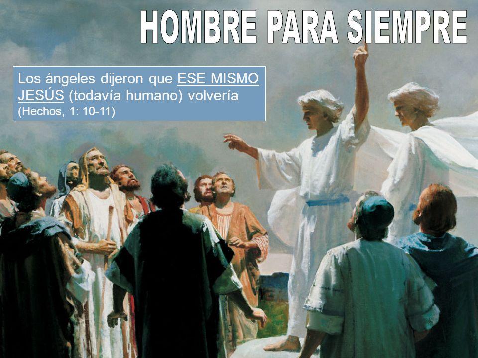 HOMBRE PARA SIEMPRE Los ángeles dijeron que ESE MISMO JESÚS (todavía humano) volvería (Hechos, 1: 10-11)