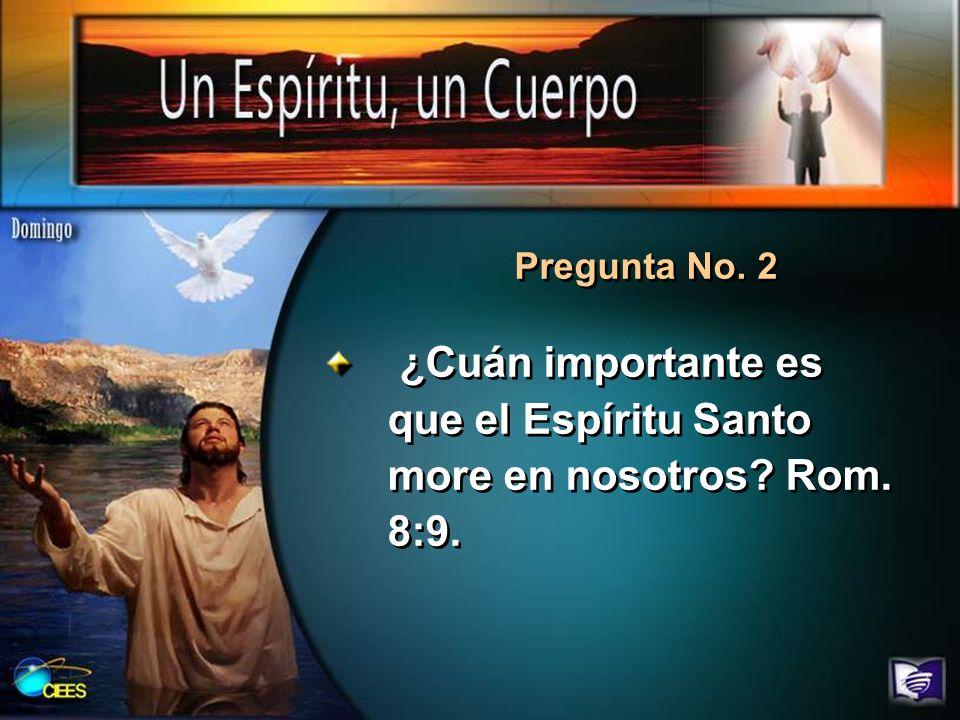 ¿Cuán importante es que el Espíritu Santo more en nosotros Rom. 8:9.
