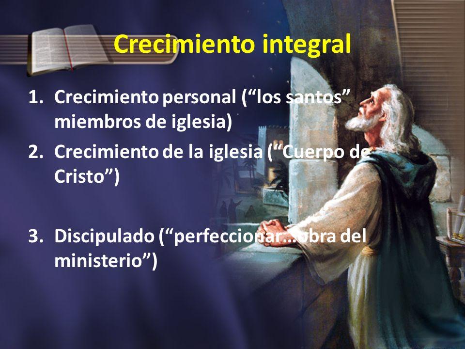 Crecimiento integral Crecimiento personal ( los santos miembros de iglesia) Crecimiento de la iglesia ( Cuerpo de Cristo )