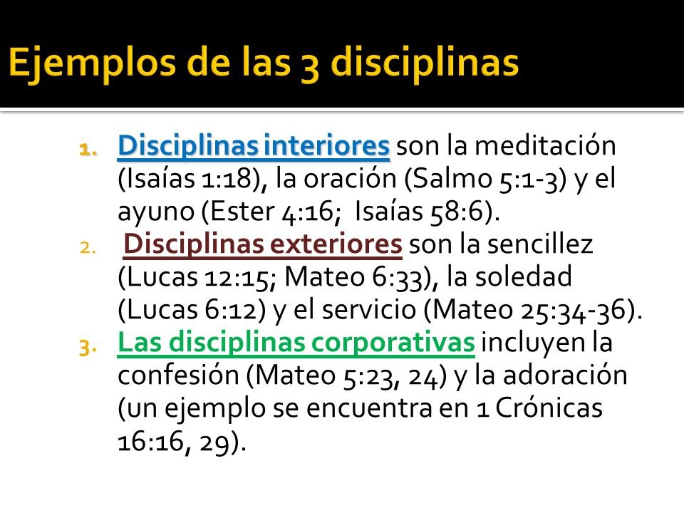 Ejemplos de las 3 disciplinas