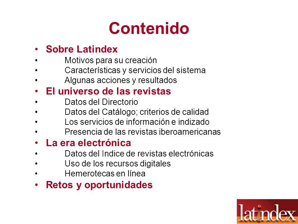 Contenido Sobre Latindex El universo de las revistas