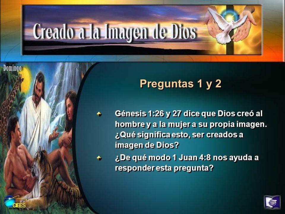 Preguntas 1 y 2 Génesis 1:26 y 27 dice que Dios creó al hombre y a la mujer a su propia imagen. ¿Qué significa esto, ser creados a imagen de Dios