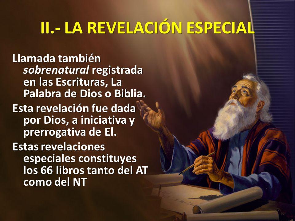 II.- LA REVELACIÓN ESPECIAL