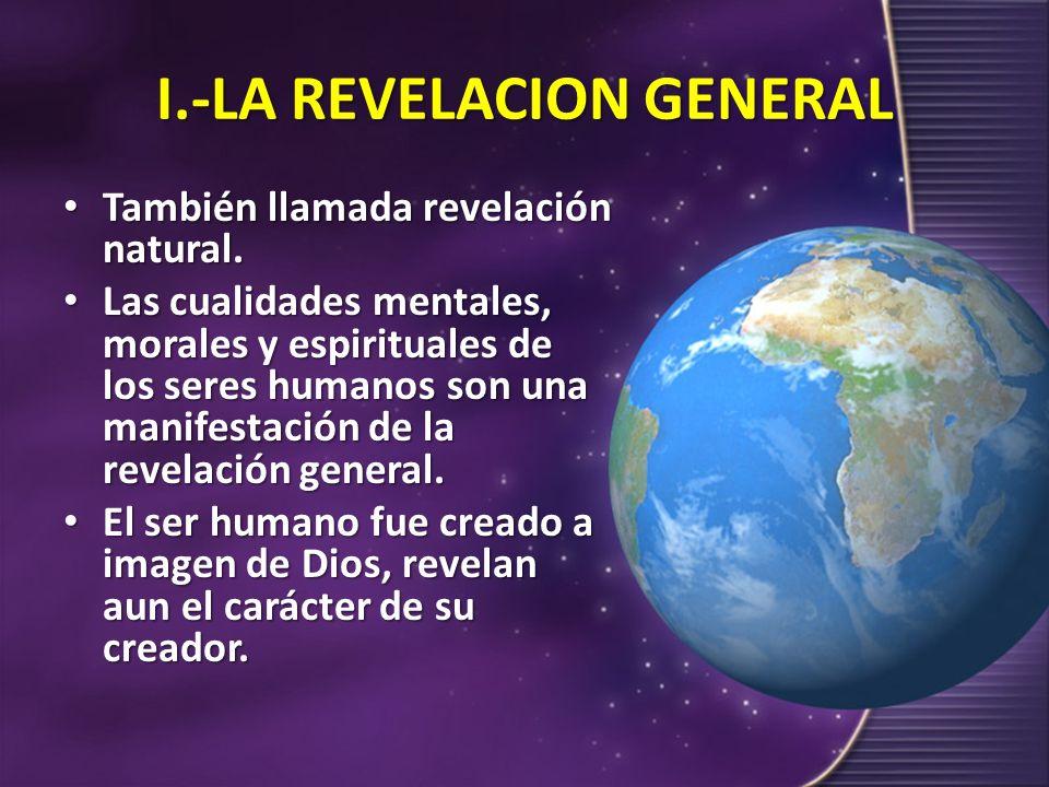 I.-LA REVELACION GENERAL