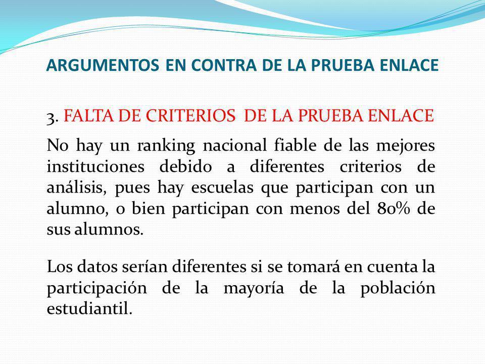 ARGUMENTOS EN CONTRA DE LA PRUEBA ENLACE