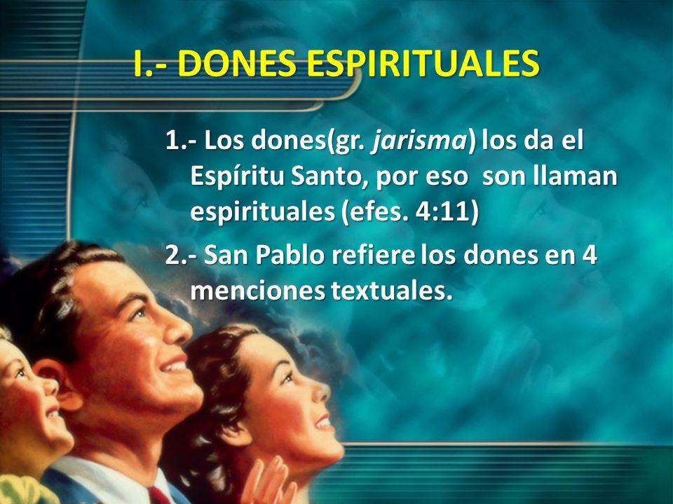 I.- DONES ESPIRITUALES