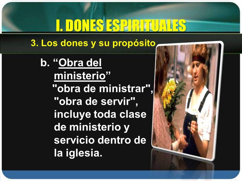 I. DONES ESPIRITUALES b. Obra del ministerio