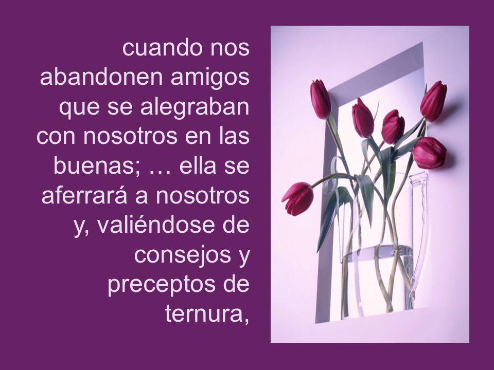 cuando nos abandonen amigos que se alegraban con nosotros en las buenas; … ella se aferrará a nosotros y, valiéndose de consejos y preceptos de ternura,