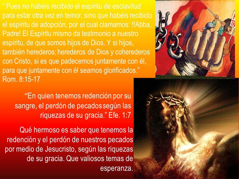 Pues no habéis recibido el espíritu de esclavitud para estar otra vez en temor, sino que habéis recibido el espíritu de adopción, por el cual clamamos: !!Abba, Padre! El Espíritu mismo da testimonio a nuestro espíritu, de que somos hijos de Dios. Y si hijos, también herederos; herederos de Dios y coherederos con Cristo, si es que padecemos juntamente con él, para que juntamente con él seamos glorificados. Rom. 8:15-17