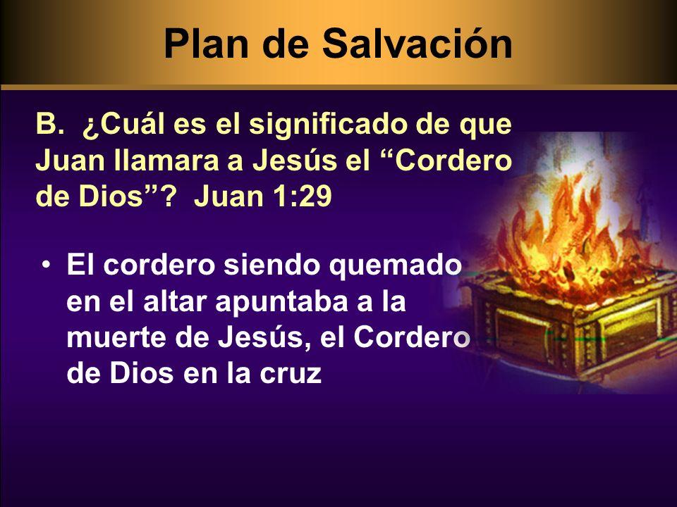 Plan de Salvación B. ¿Cuál es el significado de que Juan llamara a Jesús el Cordero de Dios Juan 1:29.