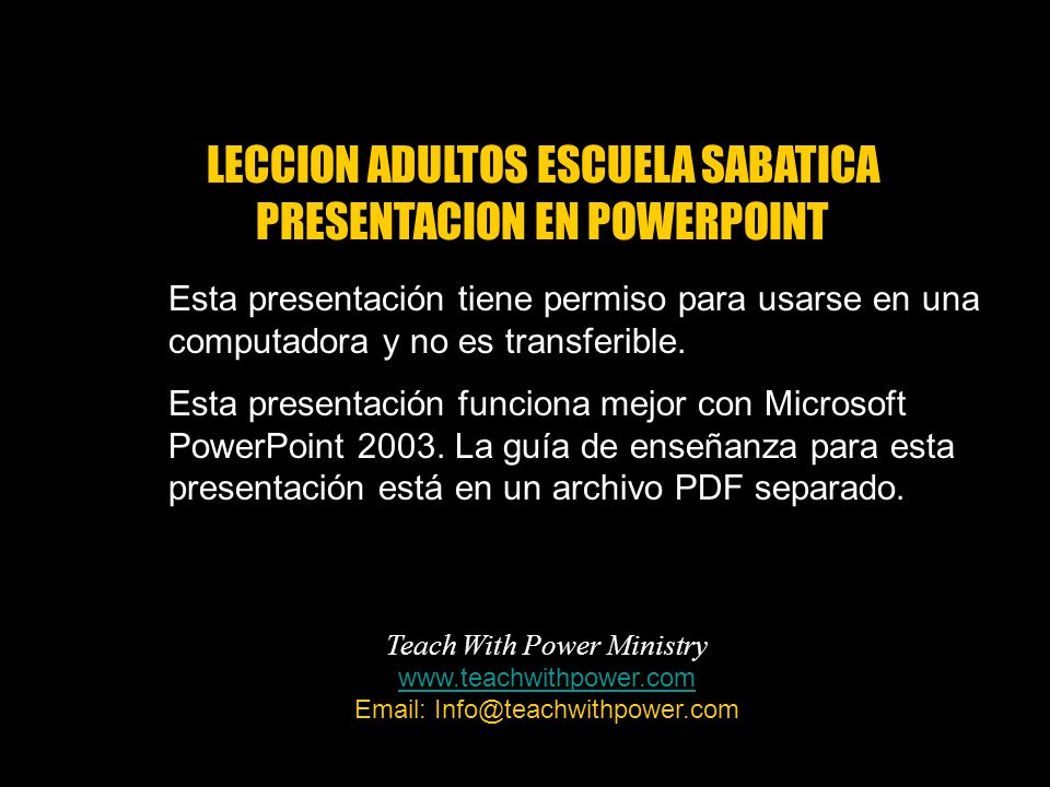 LECCION ADULTOS ESCUELA SABATICA PRESENTACION EN POWERPOINT