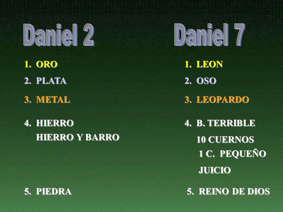 Daniel 2 Daniel 7 1. ORO 1. LEON 2. PLATA 2. OSO 3. METAL 3. LEOPARDO