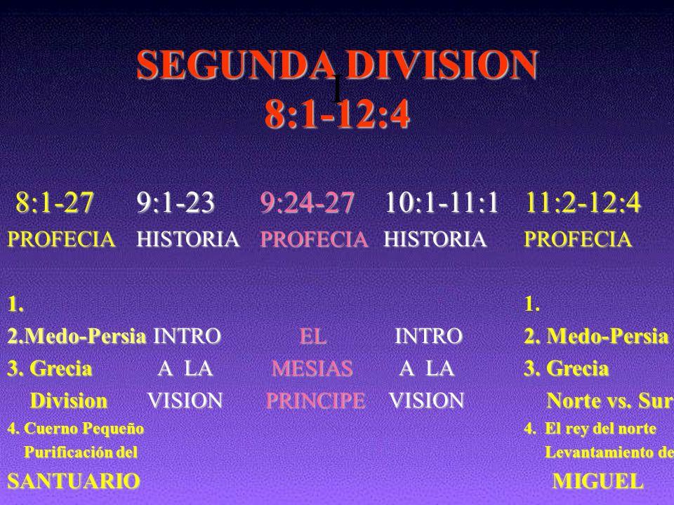 SEGUNDA DIVISION I 8:1-12:4 8:1-27 9:1-23 9:24-27 10:1-11:1 11:2-12:4