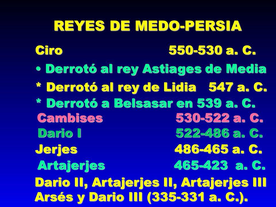 REYES DE MEDO-PERSIA Ciro 550-530 a. C.