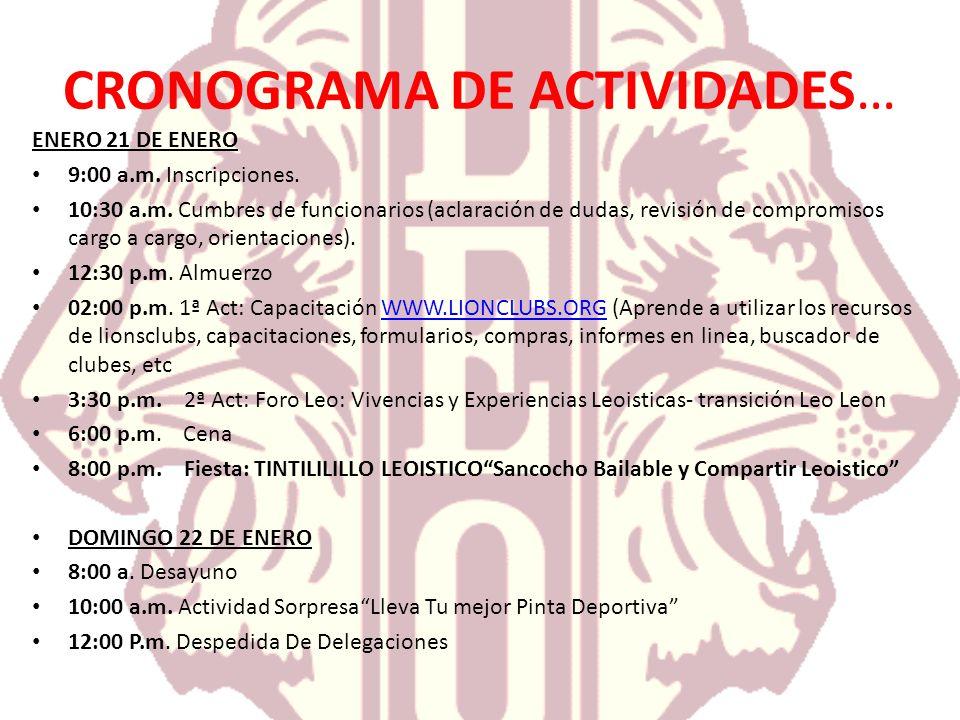 CRONOGRAMA DE ACTIVIDADES…
