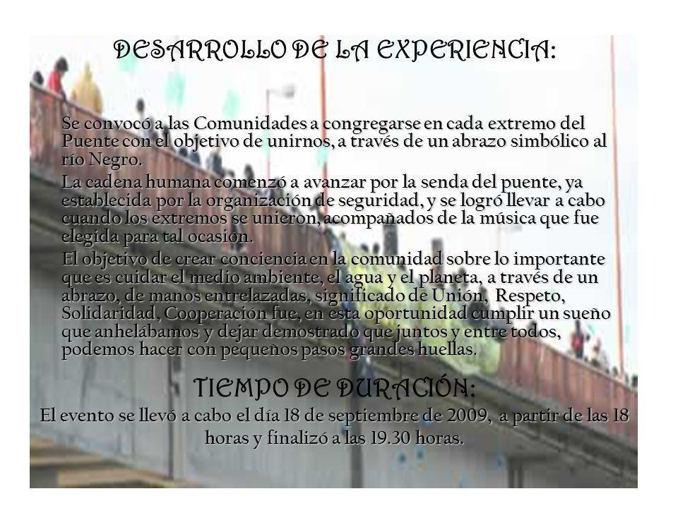 DESARROLLO DE LA EXPERIENCIA: