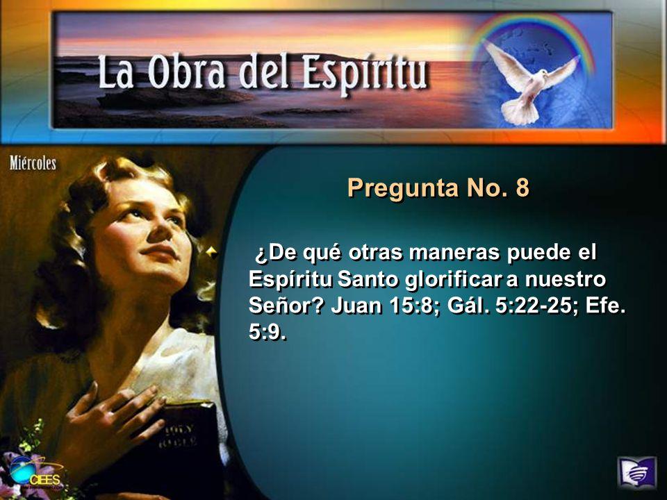 Pregunta No.8 ¿De qué otras maneras puede el Espíritu Santo glorificar a nuestro Señor.