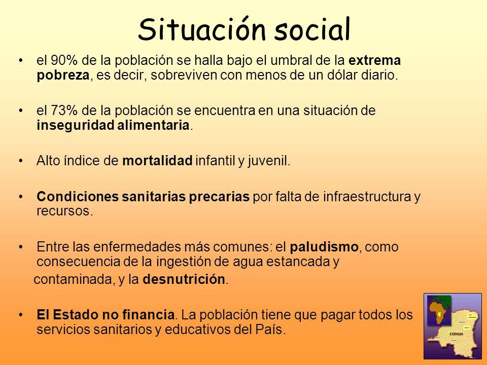 Situación social el 90% de la población se halla bajo el umbral de la extrema pobreza, es decir, sobreviven con menos de un dólar diario.