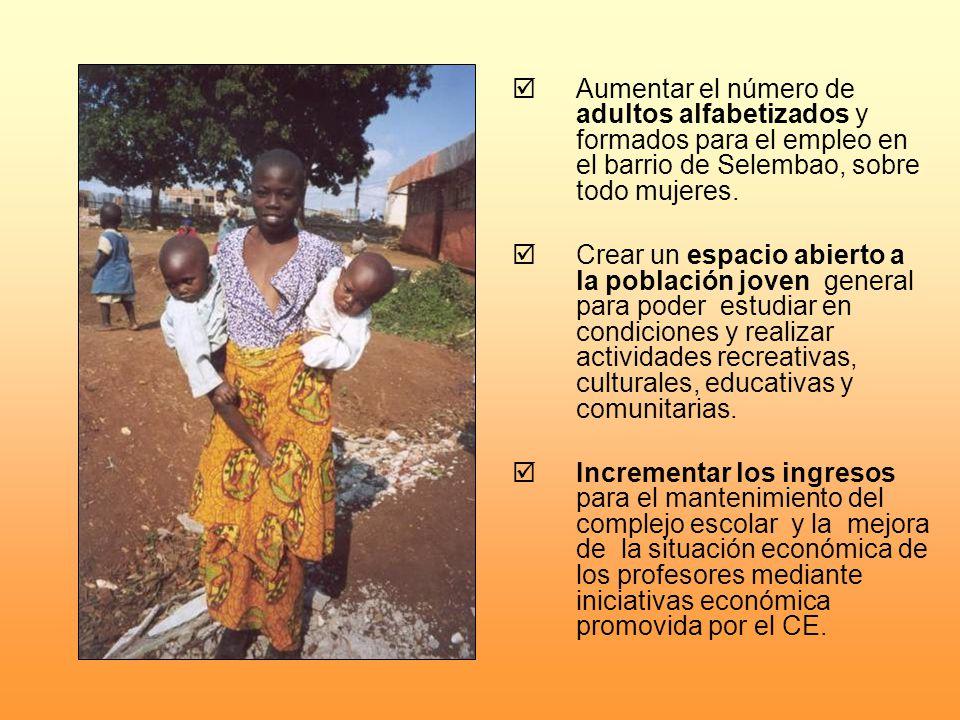 Aumentar el número de adultos alfabetizados y formados para el empleo en el barrio de Selembao, sobre todo mujeres.