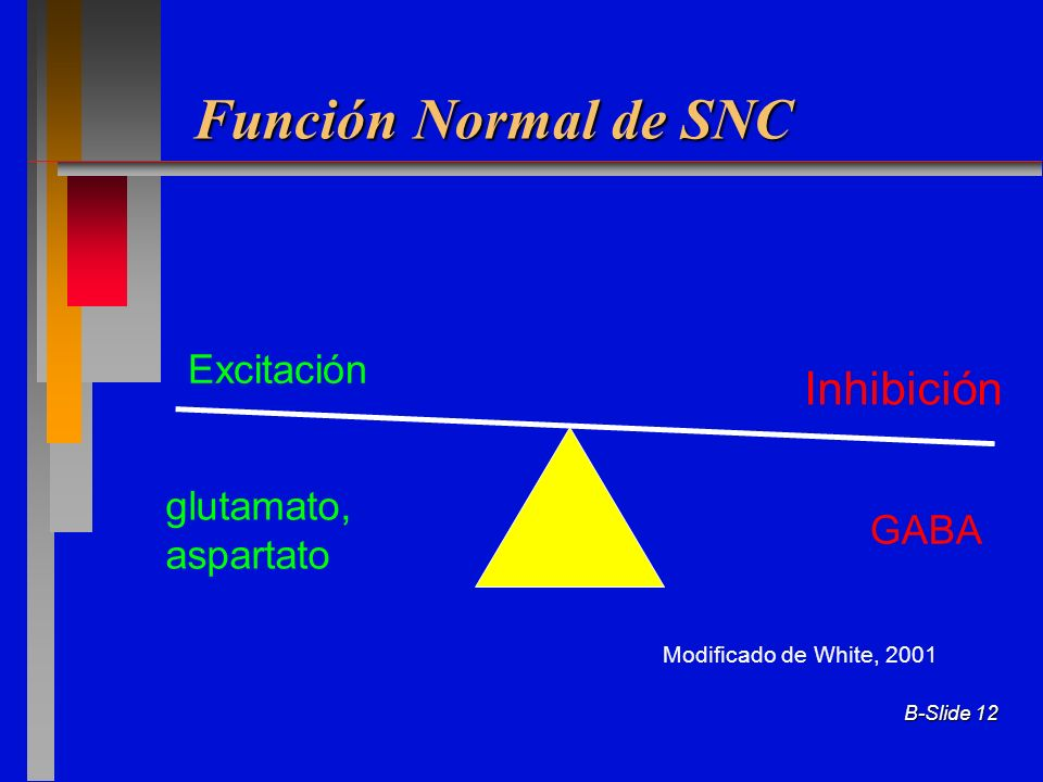 Función Normal de SNC Inhibición Excitación glutamato, aspartato GABA