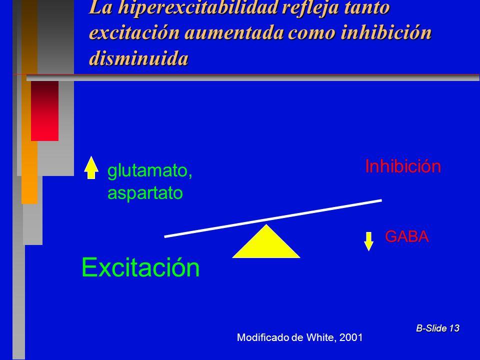 La hiperexcitabilidad refleja tanto excitación aumentada como inhibición disminuida