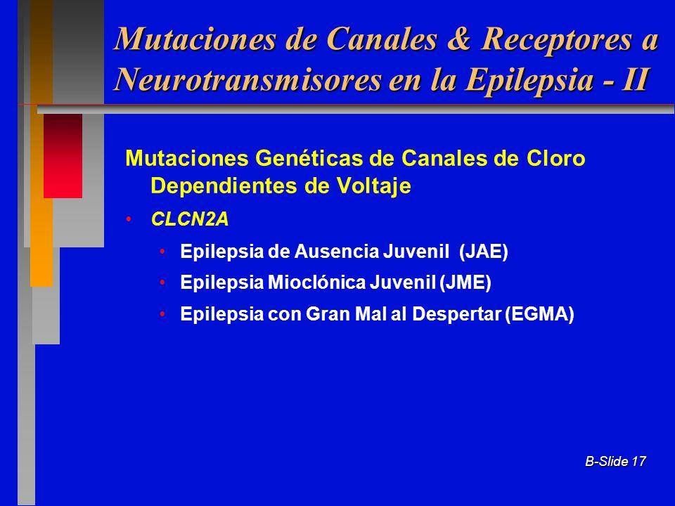 Mutaciones de Canales & Receptores a Neurotransmisores en la Epilepsia - II