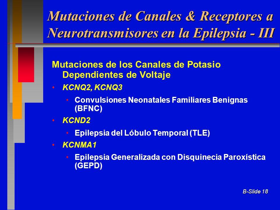 Mutaciones de Canales & Receptores a Neurotransmisores en la Epilepsia - III