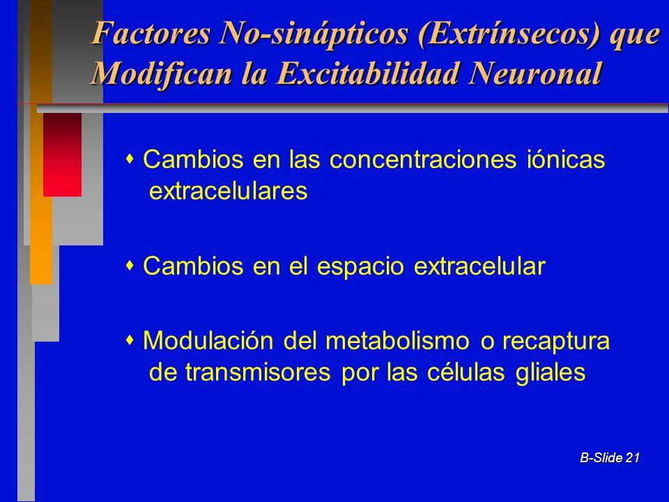 Factores No-sinápticos (Extrínsecos) que Modifican la Excitabilidad Neuronal