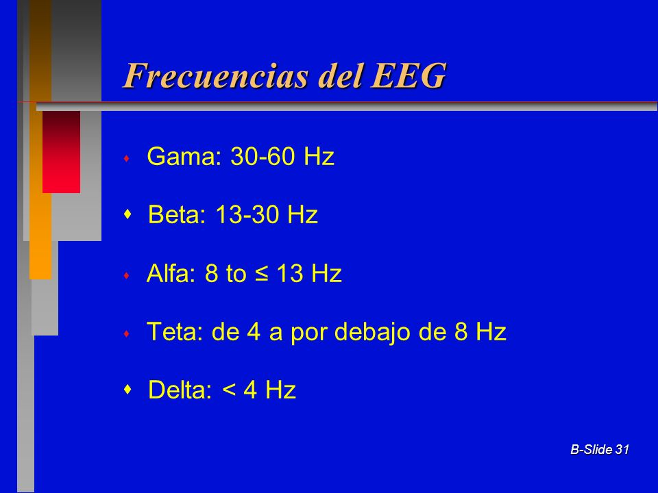 Frecuencias del EEG Gama: Hz  Beta: Hz Alfa: 8 to ≤ 13 Hz