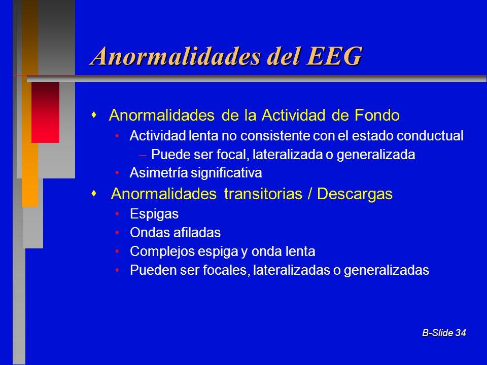 Anormalidades del EEG  Anormalidades de la Actividad de Fondo