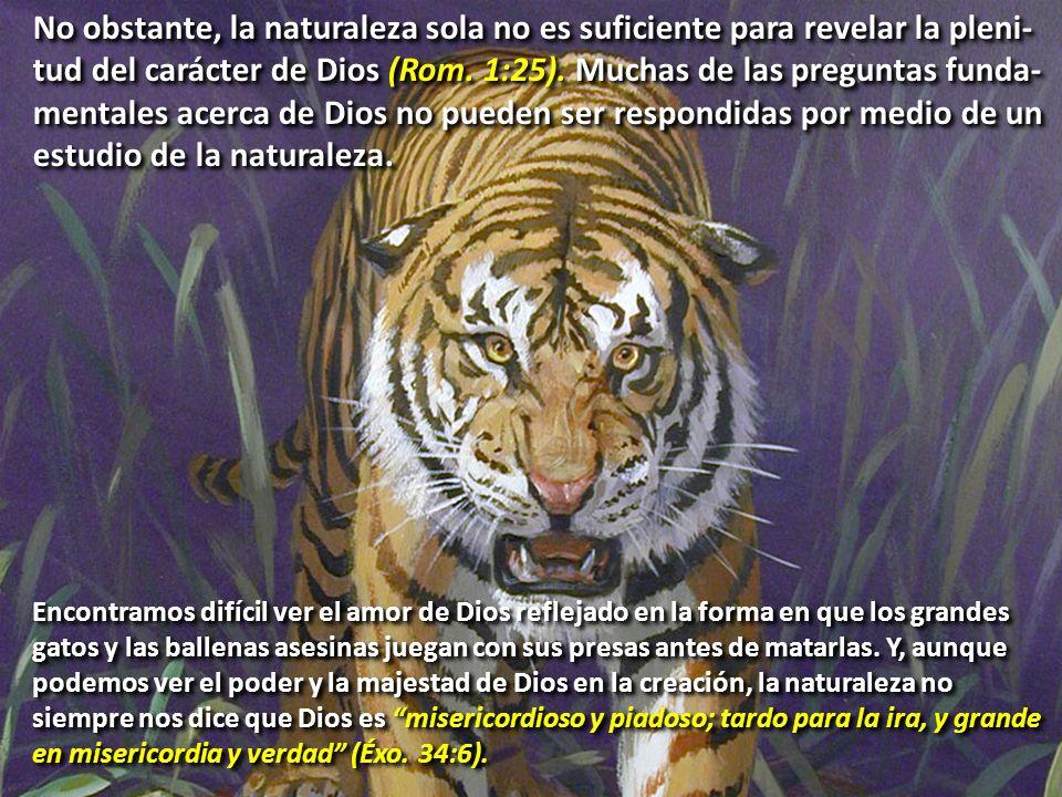 No obstante, la naturaleza sola no es suficiente para revelar la pleni-tud del carácter de Dios (Rom. 1:25). Muchas de las preguntas funda-mentales acerca de Dios no pueden ser respondidas por medio de un estudio de la naturaleza.