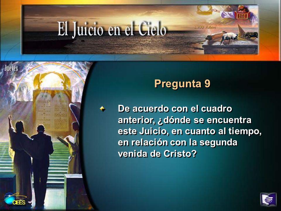 Pregunta 9 De acuerdo con el cuadro anterior, ¿dónde se encuentra este Juicio, en cuanto al tiempo, en relación con la segunda venida de Cristo