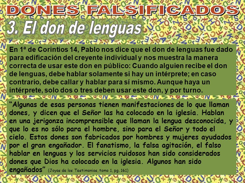 DONES FALSIFICADOS 3. El don de lenguas
